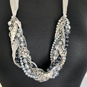 Ribbon/crystal/pearl rope necklace